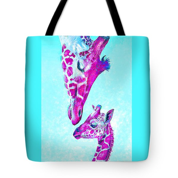 Tote Bag featuring the digital art Loving Giraffes- Magenta by Jane Schnetlage