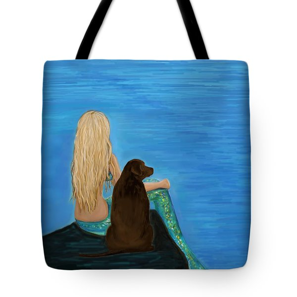 Tote Bag featuring the painting Loving Lab Loyalty by Leslie Allen
