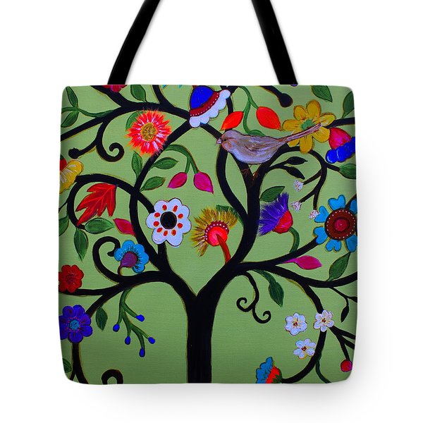 Tote Bag featuring the painting Loving Tree Of Life by Pristine Cartera Turkus