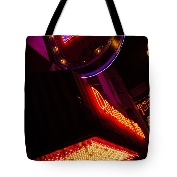 Low Angle Neon Signs At Night In North Beach San Francisco Tote Bag by Jason Rosette