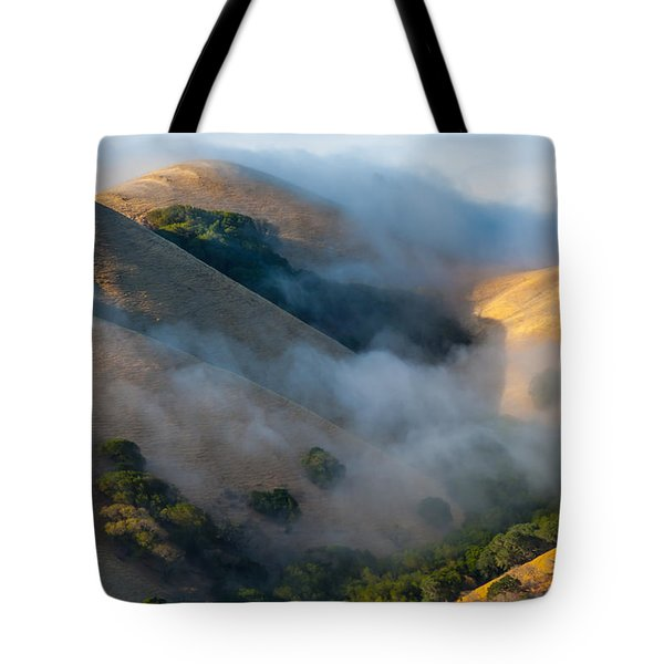 Low Clouds Between Hills Tote Bag