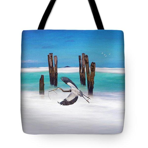 Low Flying Heron Tote Bag