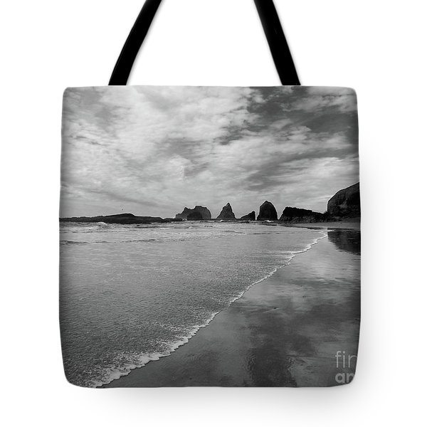 Low Tide - Black And White Tote Bag