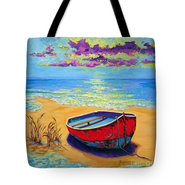 Tote Bag featuring the painting Low Tide - Impressionistic Art, Landscpae Painting by Patricia Awapara
