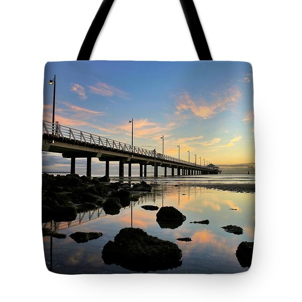 Low Tide Reflections At The Pier  Tote Bag