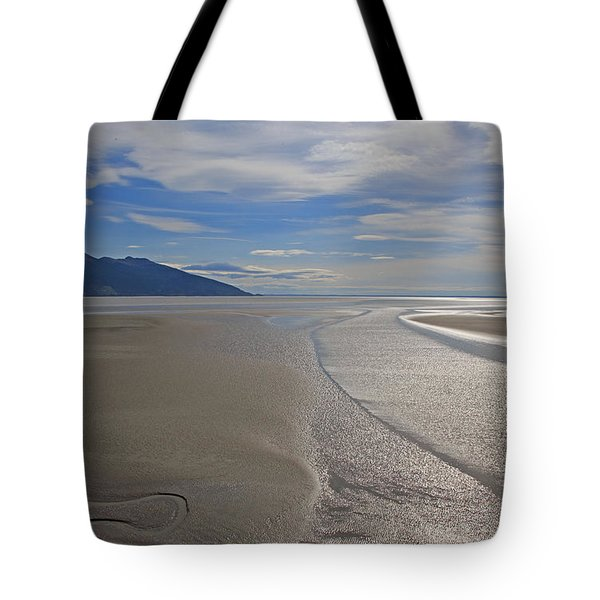Low Tide As Seen From The Alaska Railroad Tote Bag by Allan Levin