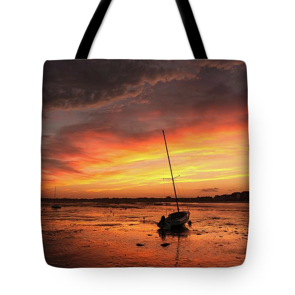 Low Tide Sunset Sailboats Tote Bag