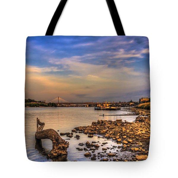 Low Water Vistula Riverscape In Warsaw Tote Bag by Julis Simo