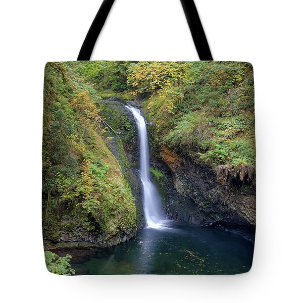 Lower Butte Creek Falls Plunging Into A Pool Tote Bag by David Gn