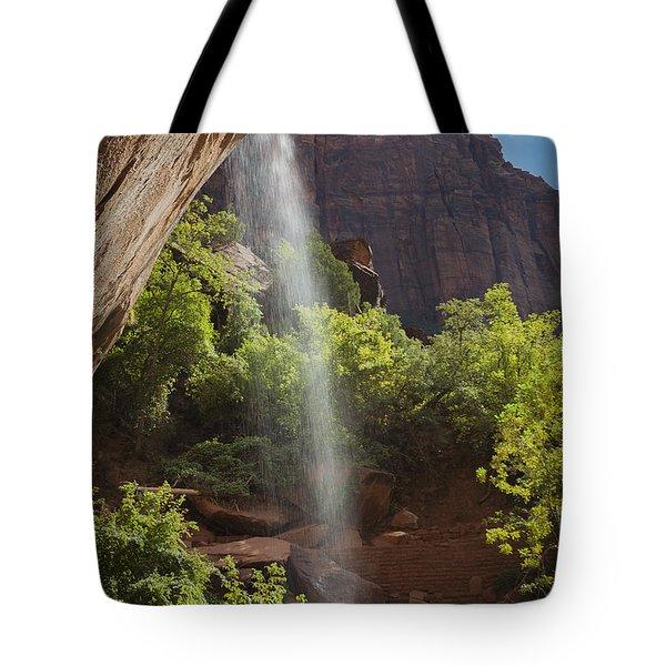 Lower Emerald Pool Falls In Zion Tote Bag