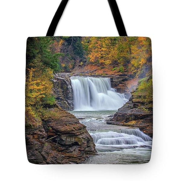Lower Falls In Autumn Tote Bag by Rick Berk