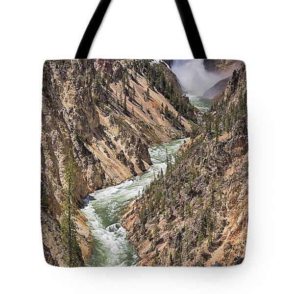 Tote Bag featuring the photograph Lower Falls by John Gilbert