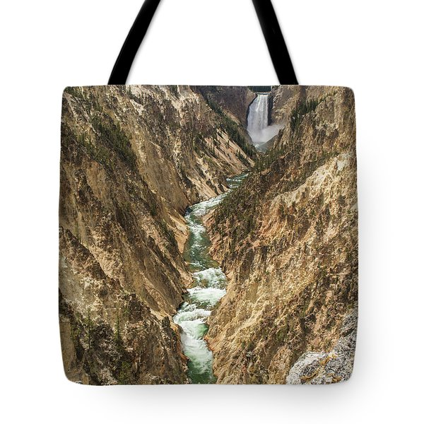 Lower Falls Of The Yellowstone - Portrait Tote Bag
