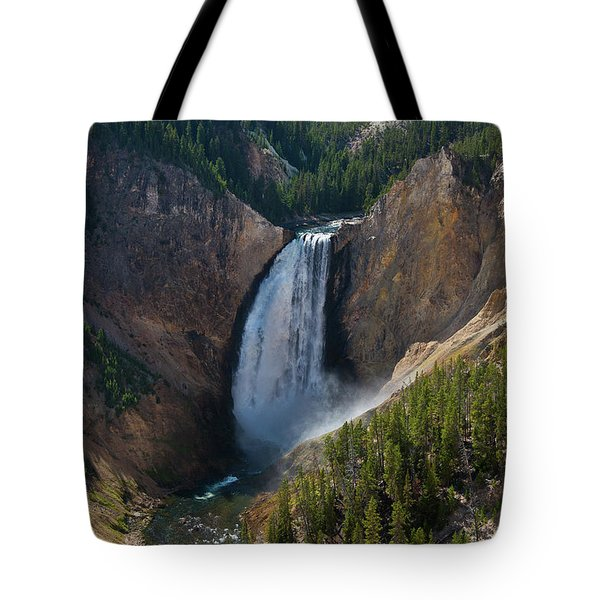 Tote Bag featuring the photograph Lower Falls Of Yellowstone River by Roger Mullenhour