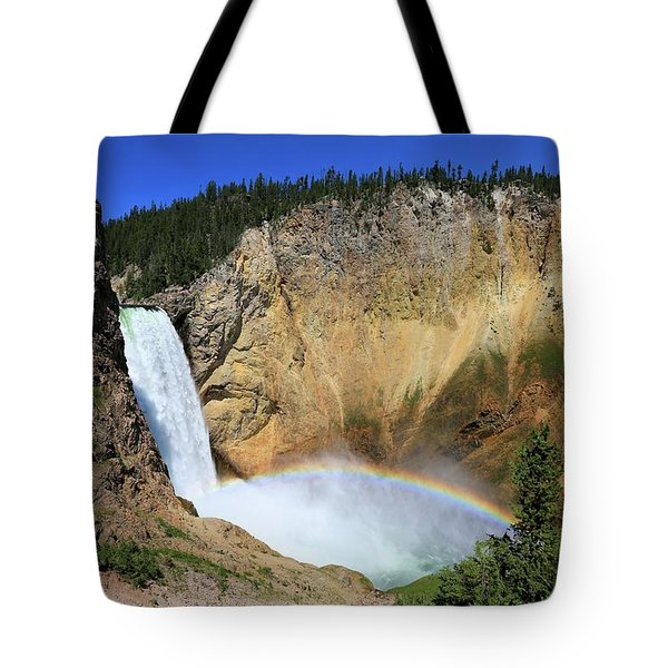 Lower Falls With A Rainbow Tote Bag