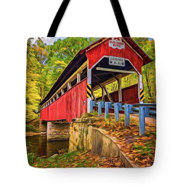 Lower Humbert Covered Bridge 2 - Paint Tote Bag