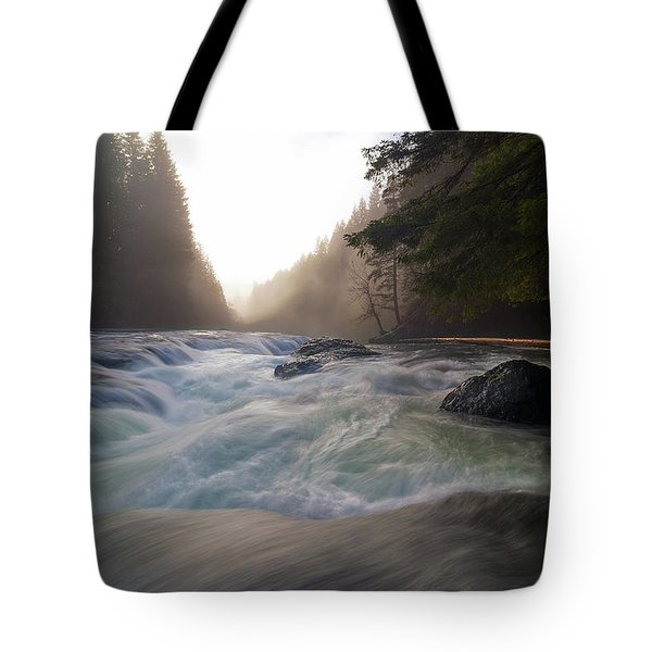 Lower Lewis River Falls During Sunset Tote Bag by David Gn