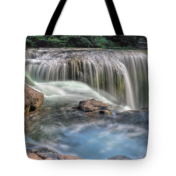 Lower Lewis River Falls Rush Tote Bag by David Gn