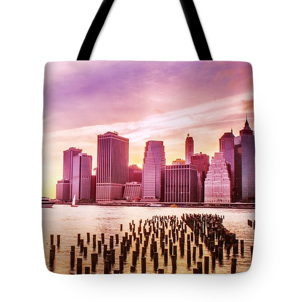 Lower Manhattan And Ferry Tote Bag by Rima Biswas