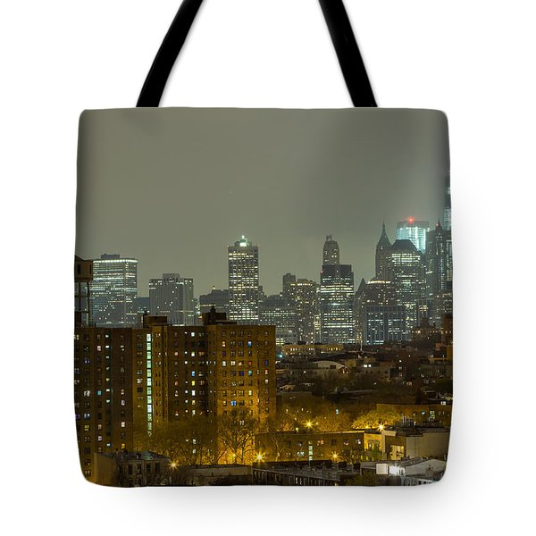 Lower Manhattan Cityscape Seen From Brooklyn Tote Bag