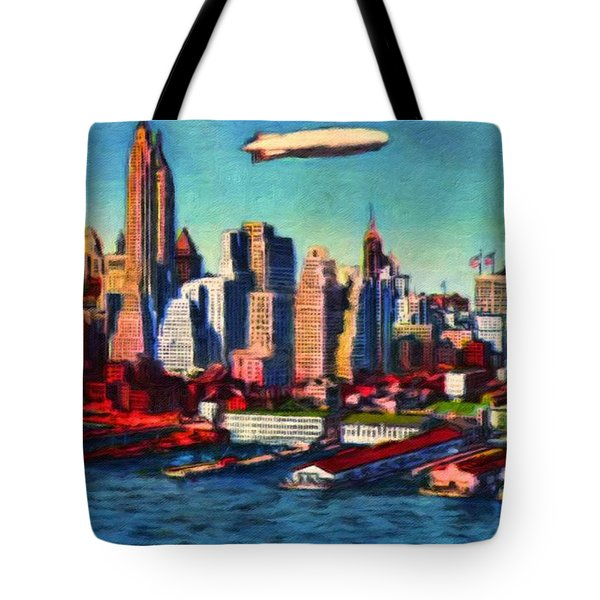 Lower Manhattan Skyline New York City Tote Bag by Vincent Monozlay