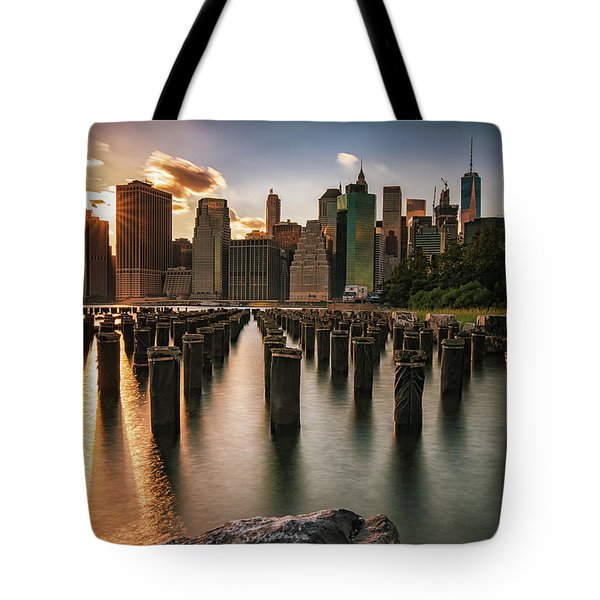 Lower Manhattan Sunset Twinkle Tote Bag