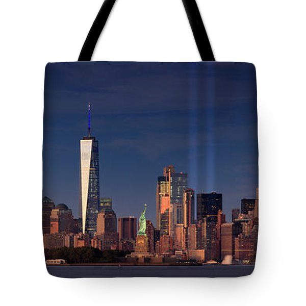 Tote Bag featuring the photograph Lower Manhattantribute In Light by Emmanuel Panagiotakis