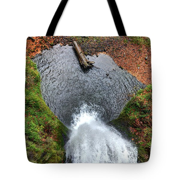 Lower Multnomah Falls From Benson Bridge - Columbia Gorge Tote Bag by Gary Whitton