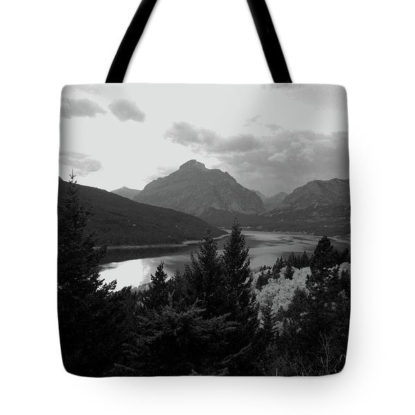 Lower Two Medicine Lake In Black And White Tote Bag