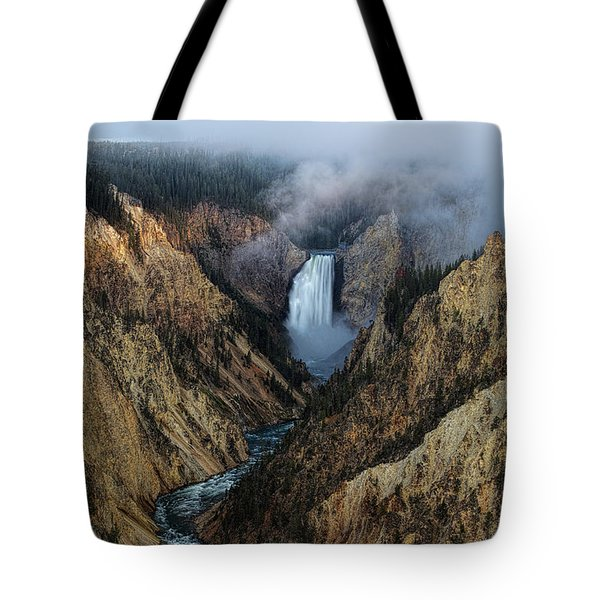Lower Yellowstone Falls Sunrise Tote Bag