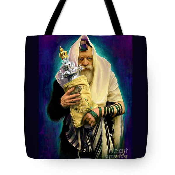 Tote Bag featuring the painting Lubavitcher Rebbe With Torah by Sam Shacked
