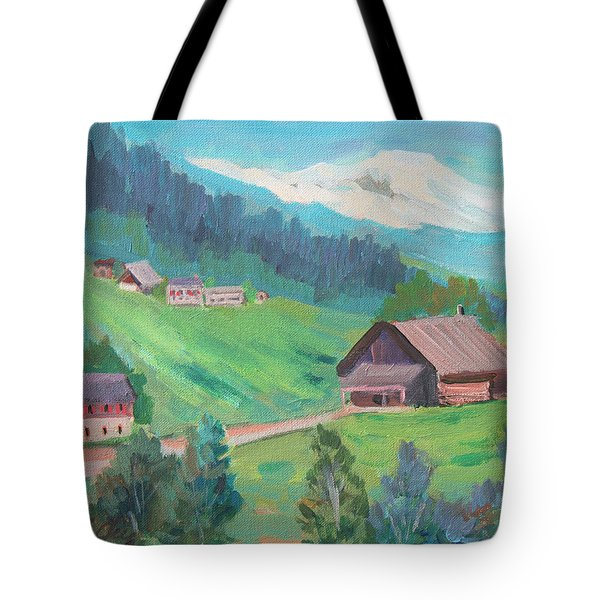Tote Bag featuring the painting Lucerne Countryside by Diane McClary