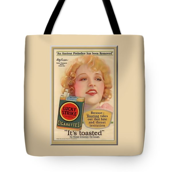 Tote Bag featuring the digital art Lucky Strike Poster by Chuck Staley
