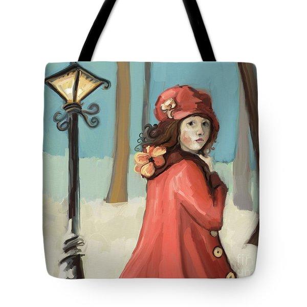 Girl In The Snow Tote Bag