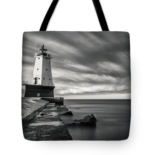 Tote Bag featuring the photograph Ludington Light Black And White by Adam Romanowicz
