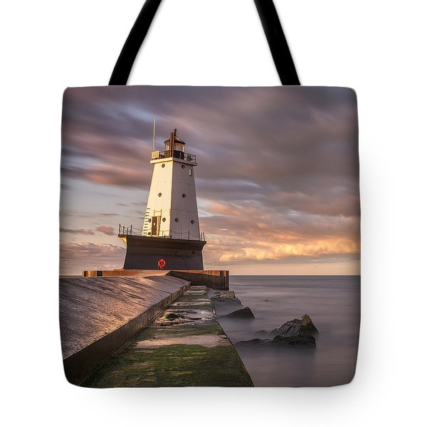 Tote Bag featuring the photograph Ludington North Breakwater Light At Dawn by Adam Romanowicz