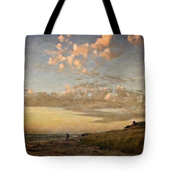 Tote Bag featuring the photograph Ludington State Park Beach House At Sunset by Michelle Calkins