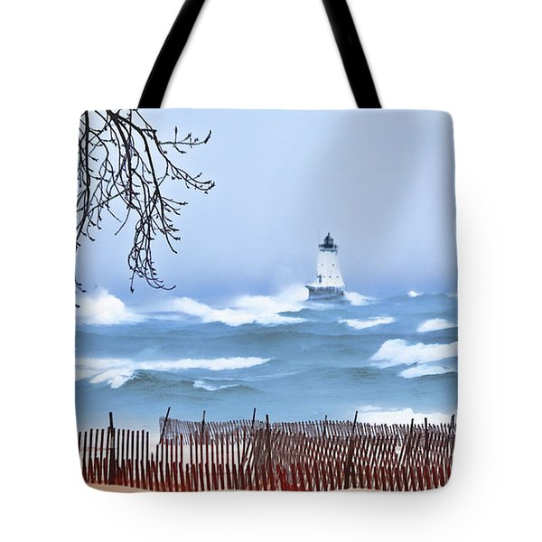 Ludington Winter Shore  Tote Bag