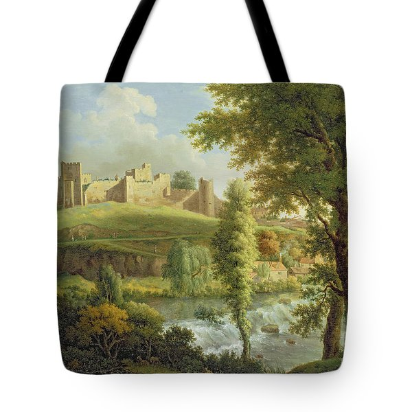 Ludlow Castle With Dinham Weir Tote Bag by Samuel Scott