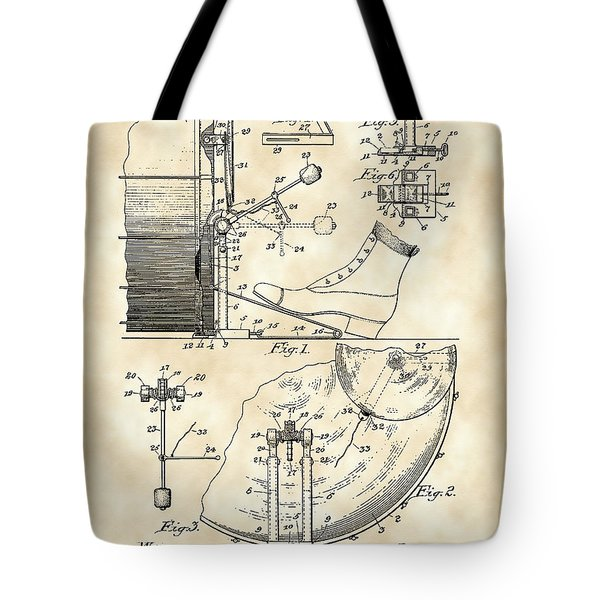 Ludwig Drum And Cymbal Foot Pedal Patent 1909 - Vintage Tote Bag