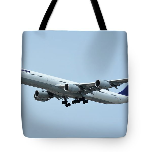 Tote Bag featuring the photograph Lufthansa Airbus A340-600 D-aihw Los Angeles International Airport May 3 2016 by Brian Lockett