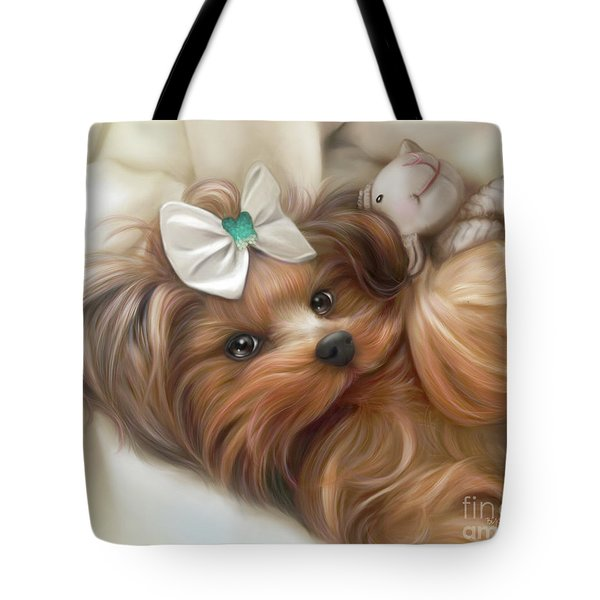 Tote Bag featuring the painting Lulu And Mr.lamb by Catia Lee