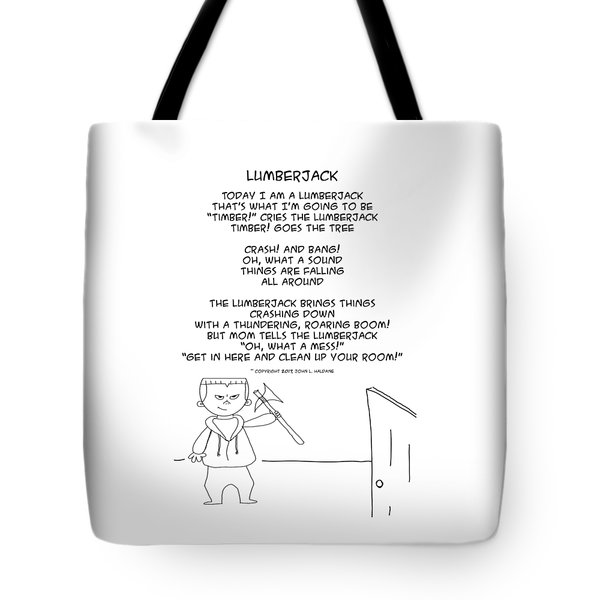 Tote Bag featuring the drawing Lumberjack by John Haldane