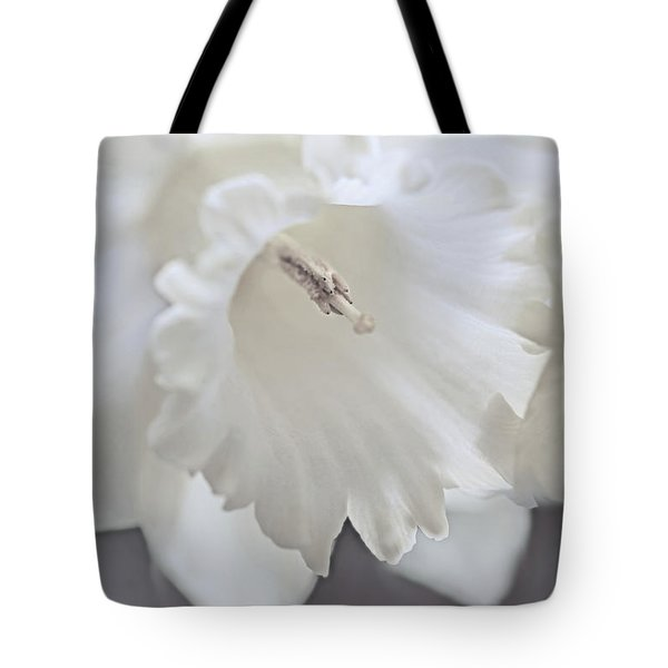 Tote Bag featuring the photograph Luminous Ivory Daffodil Flower by Jennie Marie Schell