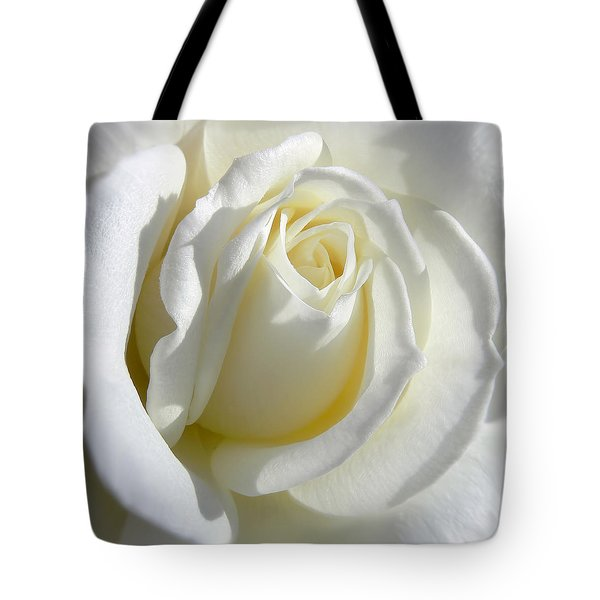 Luminous Ivory Rose Tote Bag