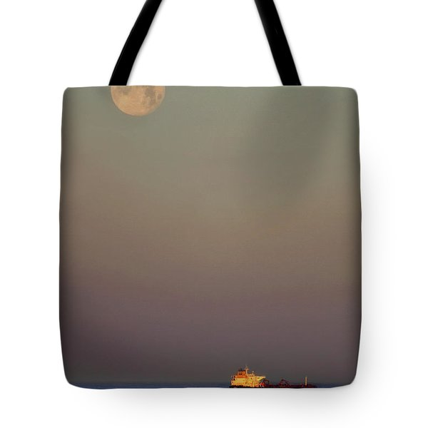 Tote Bag featuring the photograph Luna And The Ship - Ocean - Cargo Ship - Seascape by Jason Politte