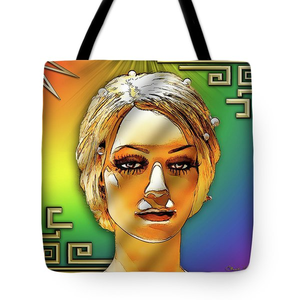 Tote Bag featuring the digital art Luna Loves Deco by Chuck Staley