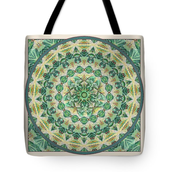 Tote Bag featuring the digital art Luna Meditation Mandala by Deborah Smith