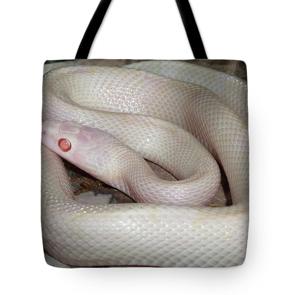 Luna White Snake Tote Bag by Patricia McNaught Foster
