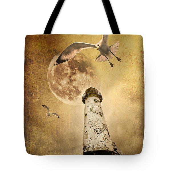 lunar flight Tote Bag by Meirion Matthias